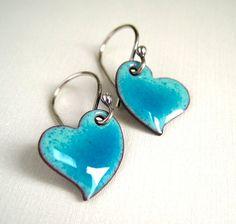 https://flic.kr/p/bjj4Fe   Enamel Jewelry Turquoise Enamel Heart Earrings
