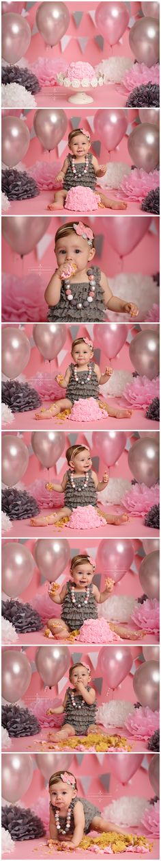 cake smash, first birthday, posing ideas, cake smash session, baby girl, first year, one year old, pink, gray, silver, white, balloons, lace romper, headband, necklace, 11 Sixteen Photography, studio, richmond, virginia, va, glen allen