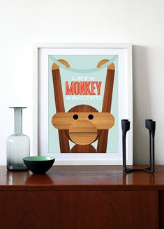 Poster Danish monkey poster print Mid century modern quote kitchen art retro nursery art Kay Bojesen - Lets Monkey Around A3
