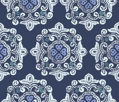 Telas diseñadores EEUU - delhi blue - hecho a mano por La-Retalera en DaWanda