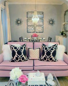 Chic City Living Room Design With Gray Walls, Pink Sofa With Black Piping,  Pink U0026 Black Thomas Paul Flock Pillows, White Shag Pillows, Peekaboo  Acrylic ... Part 66