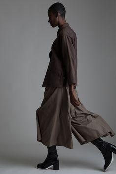 Vintage Issey Miyake, Jacket, Hermes Long Sleeve Top and Yohji Yamamoto Pants. Designer Clothing Dark Minimal Street Style Fashion
