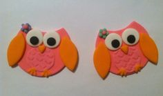 CUTE OWL Orange & Pink Edible Fondant Cupcake Toppers - Perfect for your next Owl themed Birthday or Baby Shower