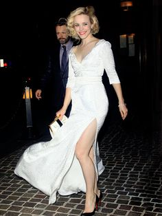 Rachel McAdams in Louis Vuitton with Michael Sheen at the Cinema Society