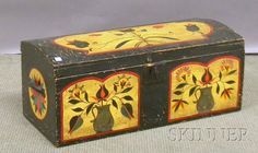 Pennsylvania-style Polychrome Paint-decorated Dome-top Wooden Box, lg. 33 1/2 in.