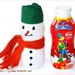 Yoghurtpotjes sneeuwman