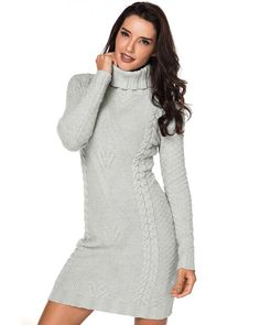 online shopping for GOSOPIN Women Autumn Winter Long Sleeve Turtleneck Knit Sweater Dress from top store. See new offer for GOSOPIN Women Autumn Winter Long Sleeve Turtleneck Knit Sweater Dress Cable Knit Sweater Dress, Long Sleeve Sweater Dress, Long Sleeve Turtleneck, Knit Dress, Sweater Dresses, Grey Dresses, Knit Sweaters, Sleeve Dresses, Mini Dresses