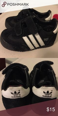 Size 4 baby/toddler adidas EUC size 4 black suede adidas Adidas Shoes Sneakers