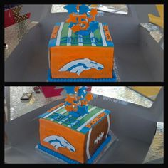 Denver broncos football cake - Totally Baked by Kindle Family Favorites Facebook.com/totallybakedbykindlefamilyfavorites Www.kindlefamilyfavorites.com