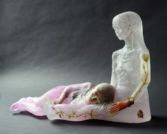 "Christina Bothwell Soul Sentinel, 2015 18 x 23 x 9.5""  cast glass, pit fired raku clay, found objects, oil paints Available"