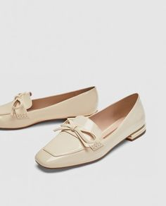 Image 3 of FAUX PATENT LEATHER LOAFERS WITH BOW DETAIL from Zara