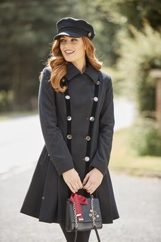 True Elegance Coat The essential black winter coat has been elevated with velvet taping, quirky buttons and a flattering full skirt for a feminine silhouette. Black Winter Coat, Summer Accessories, New Outfits, Coats For Women, Knitwear, Style Me, Autumn Fashion, Feminine, Velvet