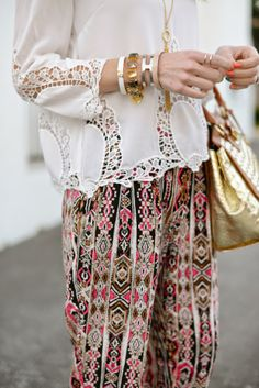Maria from M Loves M rocking a boho inspired look in our Printed Soft Pants.
