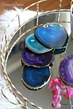 Agate Stone Coasters by PartiesforPennies.com 2