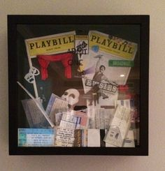 theatre playbills and tickets in shadowbox?