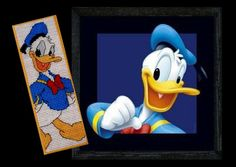 Made by Marian. Bookmark Donald Duck embroidered on plastic canvas. A 'Designer Stitches' cross stitch Bookmark kit.   The pattern can be found on my board 'Cross stitch - bookmarks of others'