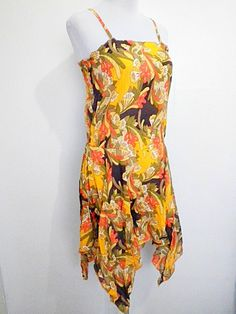 Autumn / Fall Sale: mustard yellow floral drop waist dress (large) by VintageHomage