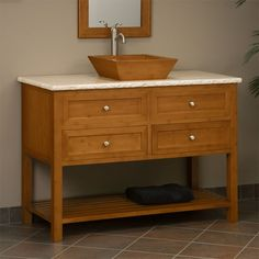 "48"" Taren Bamboo Vanity Cabinet with Travertine Top for Vessel Sink"