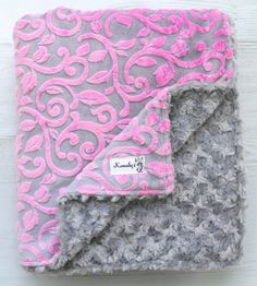 Pink Grey Sofia Vine Minky and Grey Rosette Minky Throw Lap Blanket From Kemaily