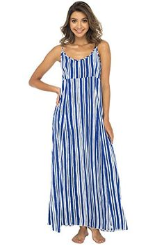 Summer Dress  $46.95 Back From Bali Womens Sleeveless Summer Maxi Dress, Long Casual Striped Sexy Beach Dress Blue X-Large Striped Maxi Dresses, Blue Dresses, Summer Maxi, Summer Dresses, Blue And White Dress, Boho Fashion Summer, Maxi Gowns, Vacation Dresses, Stylish Outfits
