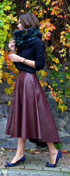 Daily New Fashion : AUTUMN - Burgundy Leather Skirt with Plaid Scarf and Plaid Nude Bow Style Pumps by Maritsa