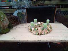 Gartendekoration - Adventskranz mit 4 Kerzen in Eisgrün  - ein Designerstück von Alles-Draht____und-so bei DaWanda