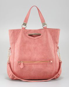 Danielle Nicole 'Peyton' Snake-Embossed Faux Leather Tote Bag (Coral).