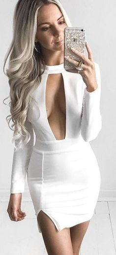 Sheath Jewel Long Sleeves Keyhole Short White Satin Homecoming Dress on Luulla Sexy Outfits, Cool Summer Outfits, Night Outfits, Cute Outfits, Fashion Outfits, Womens Fashion, Dress Fashion, Style Fashion, Tight Dresses