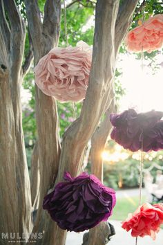 copyright MULLINS² photography hanging paper flower wedding decoration