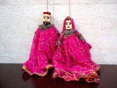 Folk Dance puppets, Indian marionettes, eco friendly toys, ethnic home decor, bohemian banjara gypsy toys, tribal dolls, rajasthani puppets by craftcoloursindia on Etsy