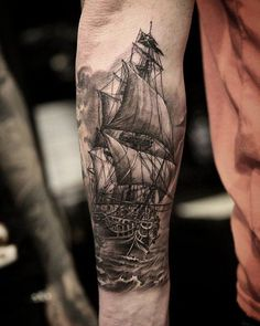 Boat forarm tattoo - 100 Boat Tattoo Designs