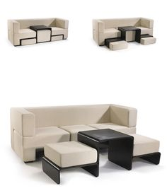 Slot Sofa: Compact Modular Couch Contains Table & Chairs