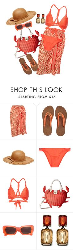"""""""Fun in the Sun"""" by sherrysrosecottage-1 ❤ liked on Polyvore featuring Eres, Sakroots, Betsey Johnson, Melissa Odabash, ViX, Linda Farrow and Palm Beach Jewelry"""