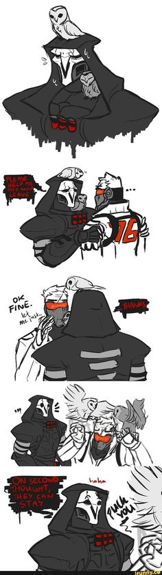 Donot trust Reaper,haha,so funny! Overwatch Comic, Overwatch Reaper, Overwatch Memes, Overwatch Fan Art, Haha, Soldier 76, Trust, Paladin, Funny Games