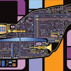 USS Enterprise Galaxy Class Starship LCARS Poster by KnerdKraft