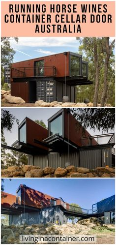 Using shipping containers, the structure reworks the language of modern homestead design.    #shippingcontainerhomes  #containerhomes  #storagecontainerhomes  #containerhouse  #shippingcontainerhouse  #shippingcontainercabin  #containerhousedesign  #containerhouseplans  #containerhousedesigninterior  #containerhomefloorplans Shipping Container Home Builders, Shipping Container Design, Cargo Container Homes, Storage Container Homes, Container House Plans, Container House Design, Shipping Containers, Container Conversions, Running Horses