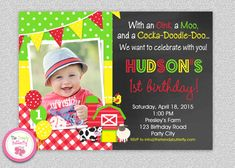 Farm Birthday Party Invitation Farm Animals by TheTrendyButterfly