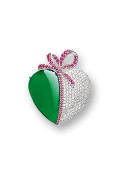 JADEITE, DIAMOND AND RUBY PENDANT