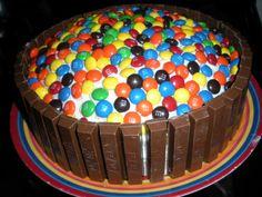 MM's and Kit Kat cake