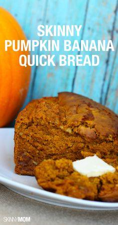 Skinny Pumpkin Banana Quick Bread - the perfect fall treat. Delicious Desserts, Dessert Recipes, Yummy Food, Dessert Ideas, Fruit Recipes, Pumpkin Banana Bread, Healthy Pumpkin Muffins, Protein Muffins, Pumpkin Bars