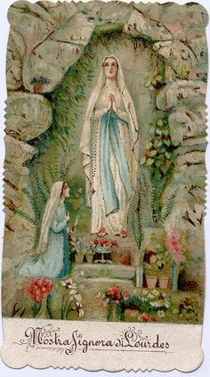 Holy card of devotee praying to Our Lady of Lourdes at the Grotto of Massabielle in France by profkaren, via Flickr