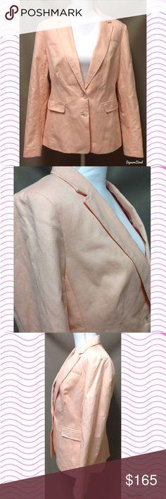 Pink Banana Republic Blazer Jacket Size: 14. Shell: 60% Cotton and 40% Linen. Body lining: 59% Polyester and 41% Rayon. Sleeve lining: 100% Polyester. Perfect Peach Summer 14'. Banana Republic Jackets & Coats Blazers
