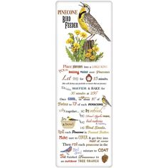 Meadowlark Pinecone Feeder Recipe Towel