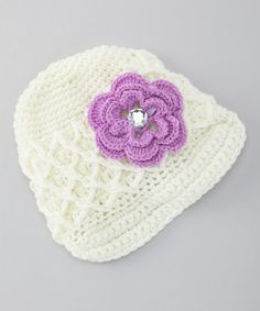 Take a look at this Cream Brimmed Beanie & Lavender Flower Clip by Itzy Bitzy on #zulily today!