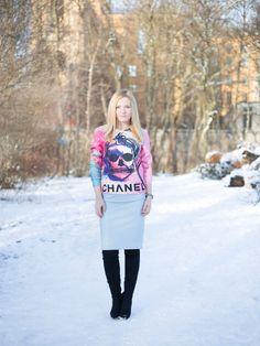 Winter Blue von puschok auf STYLIGHT #look #overknees #zara #skirt #blogger