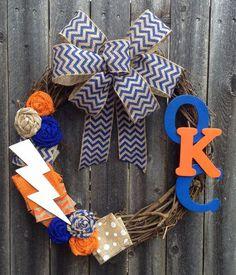 OKC Oklahoma City Thunder Up Basketball Wreath