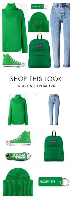 """GREEN"" by ori-me on Polyvore featuring мода, Acne Studios, WithChic, Converse, JanSport и Various Projects"
