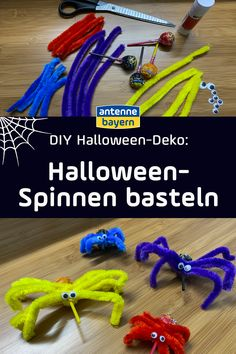 DIY: Halloween-Spinnen basteln Spiders are always disgusting? These homemade Halloween spiders do no Happy Halloween, Homemade Halloween, Halloween Spider, Halloween Party, Diy For Kids, Decoration Party, Spiders, How To Make, German