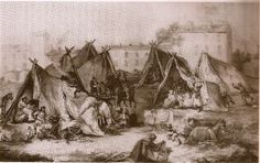 HUNGARIAN GYPSIES AT CARPENTRAS IN 1868 (PAINTING BY DENIS BONNET)  A census was conducted in Hungary (1783) that counted over 50,000 Gypsies.  They are described as wanderers who lived in tents except in winter, when they retreated into cave dwellings.  Gypsies had no chairs or beds, did not use kitchen utensils, ate mostly meat and noodles, loved tobacco and alcohol. They were disdained for eating carrion.