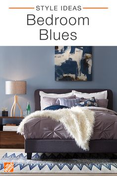 Quickly, easily and affordably refresh your bedroom with new bedding, throw pillows and throw blankets. Sticking to varying hues of the same color creates an interesting and modern effect. Choosing blue hues is sure to create a cozy and calming space. Click to shop stylish decor and start your next project.